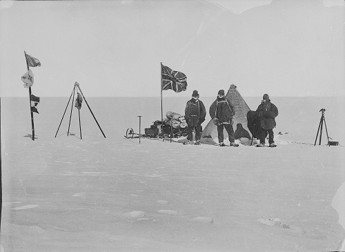 Christmas camp on the plateau with a loaded sledge